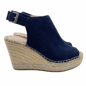 Kenneth Cole Navy Leather Olivia Open Toe Wedge
